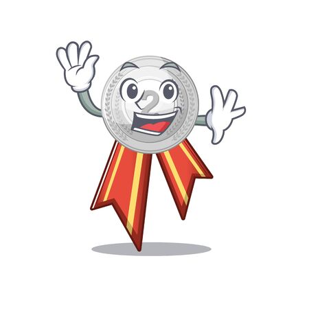 Waving silver medal isolated with the character vector illustration Illustration