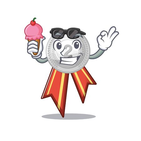 With ice cream silver medal isolated with the character vector illustration