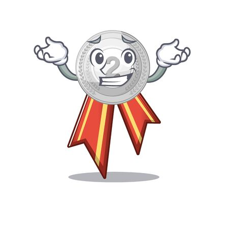 Grinning silver medal isolated with the character vector illustration Illusztráció