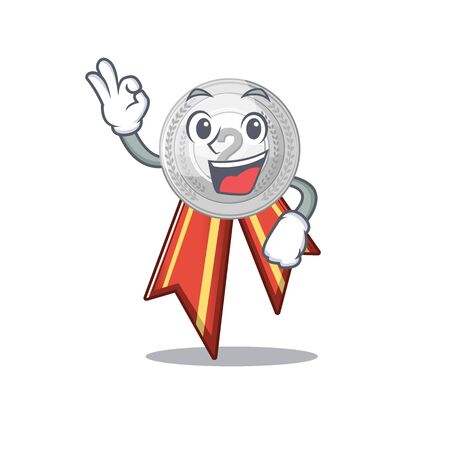 Okay silver medal isolated with the character vector illustration