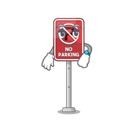 Waiting no parking the cartoon side road vector illustration  イラスト・ベクター素材