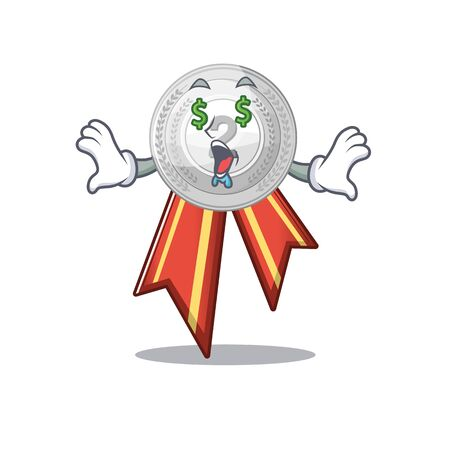 Money eye silver medal on the mascot cupboard vector illustration