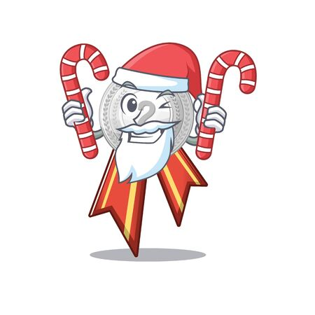 Santa with candy silver medal on the mascot cupboard vector illustration Фото со стока - 129930578