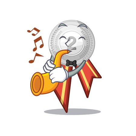 With trumpet silver medal cartoon miniature on table vector illustration