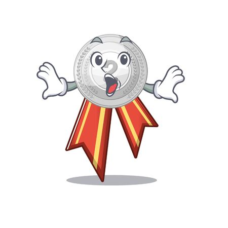 Surprised silver medal cartoon miniature on table vector illustration