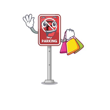 Shopping no parking isolated in the mascot vector illustration
