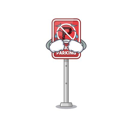 Crying toy no parking character in drawer vector illustration