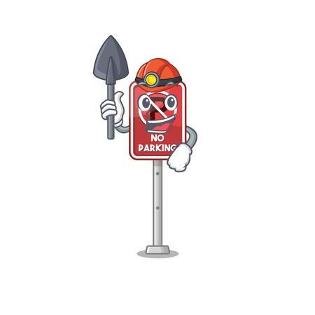 Miner toy no parking character in drawer vector illustration