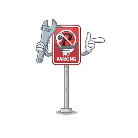 Mechanic no parking the cartoon side road vector illustration