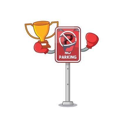 Boxing winner no parking the cartoon side road vector illustration