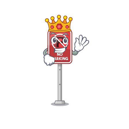 King no parking the cartoon side road vector illustration Ilustracja