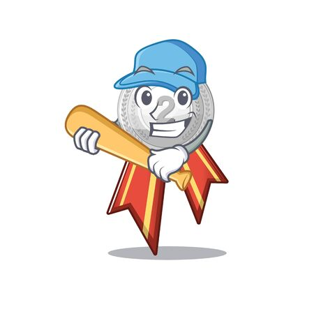 Playing baseball silver medal with the shape cartoon vector illustration Stock Illustratie