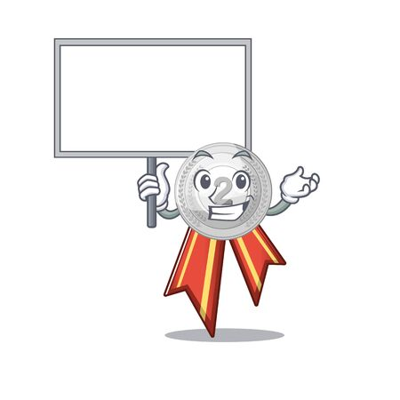 Bring board silver medal with the shape cartoon vector illustration