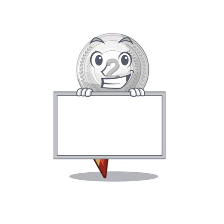 Grinning with board silver medal with the shape cartoon vector illustration Ilustrace