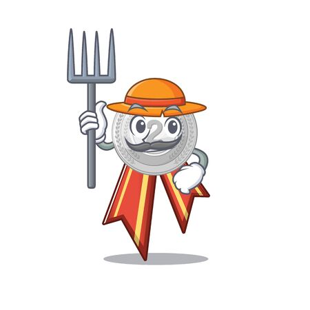 Farmer silver medal with the shape cartoon vector illustration Reklamní fotografie - 129930525