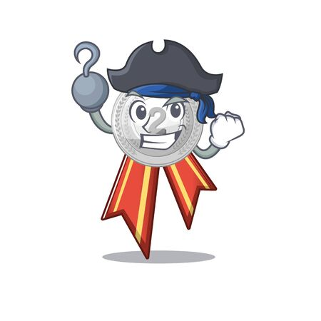 Pirate silver medal with the shape cartoon vector illustration