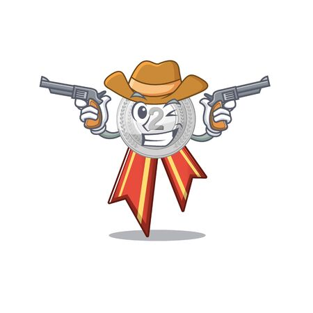 Cowboy silver medal with the shape cartoon vector illustration