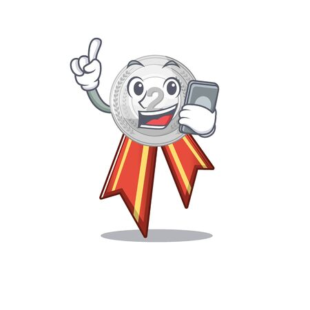 With phone silver medal with the shape cartoon vector illustration Reklamní fotografie - 129930529