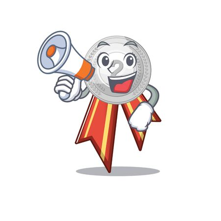 With megaphone silver medal with the shape cartoon vector illustration