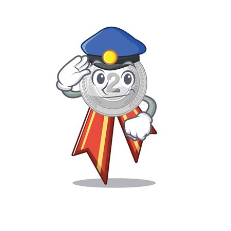 Police silver medal with the shape cartoon vector illustration