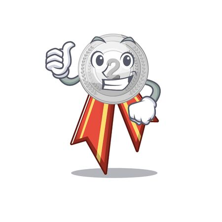 Thumbs up silver medal isolated with the character vector illustration Illusztráció