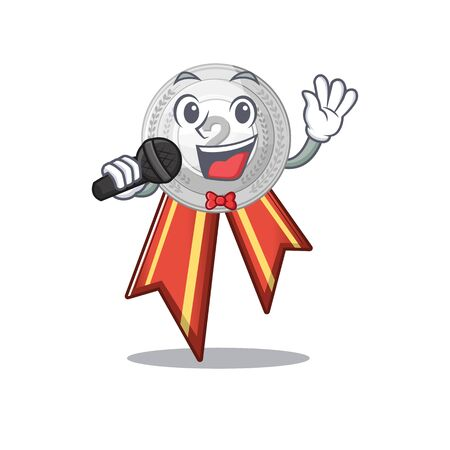 Singing silver medal cartoon miniature on table vector illustration