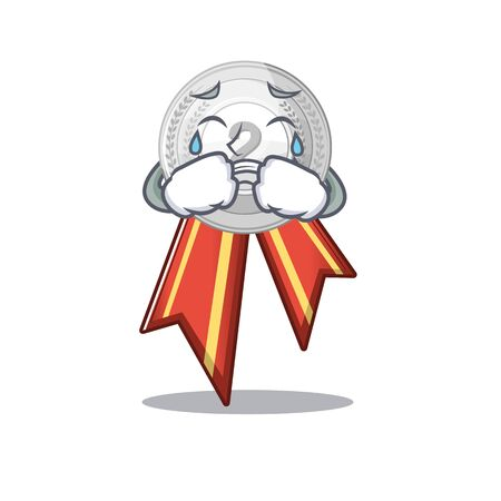 Crying silver medal cartoon miniature on table vector illustration