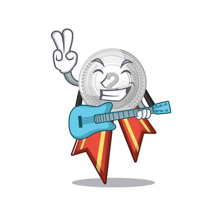 With guitar silver medal cartoon miniature on table vector illustration