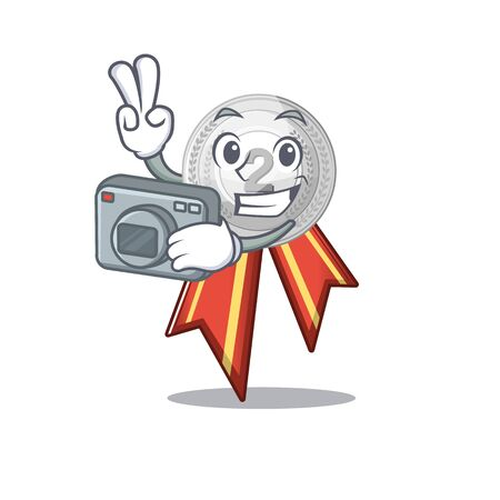 Photographer silver medal cartoon miniature on table vector illustration