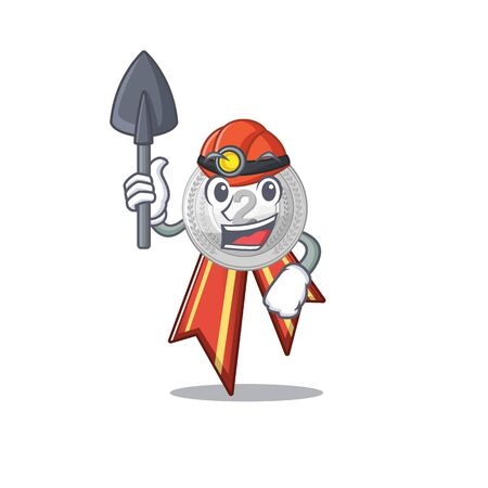 Miner silver medal cartoon miniature on table vector illustration Иллюстрация