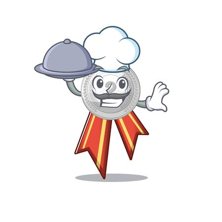Chef with food silver medal cartoon miniature on table vector illustration