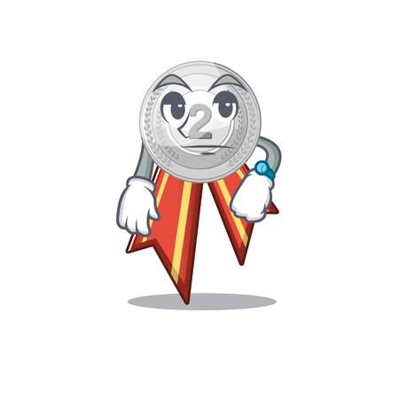 Waiting silver medal on the mascot cupboard vector illustration