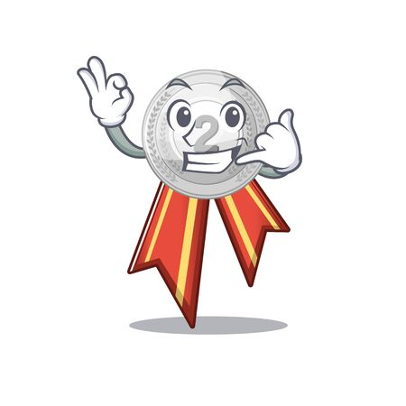 Call me silver medal on the mascot cupboard vector illustration