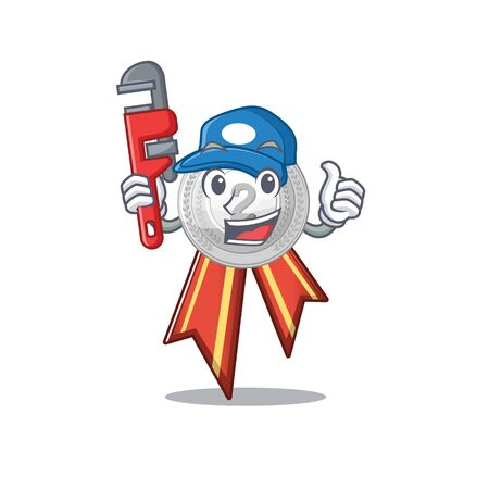 Plumber silver medal on the mascot cupboard vector illustration