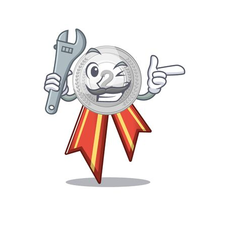 Mechanic silver medal on the mascot cupboard vector illustration