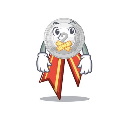 Silent silver medal on the mascot cupboard vector illustration Çizim