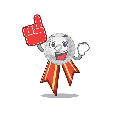 Foam finger silver medal on the mascot cupboard vector illustration