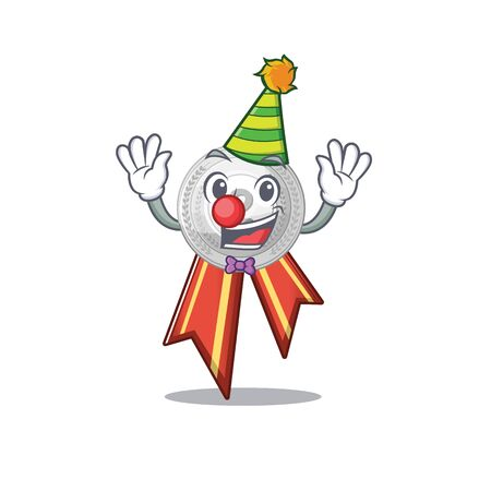 Clown silver medal on the mascot cupboard vector illustration Иллюстрация