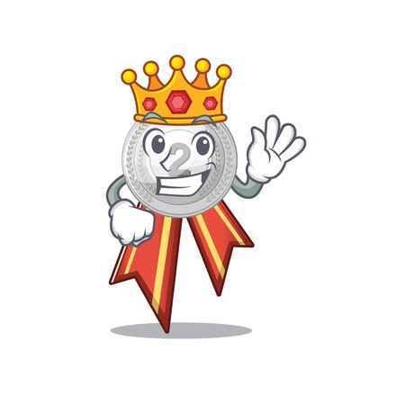 King silver medal on the mascot cupboard vector illustration Ilustracja