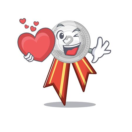 With heart silver medal cartoon miniature on table vector illustration Иллюстрация