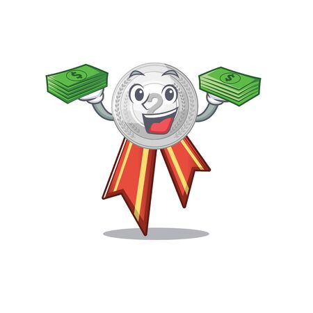 With money silver medal cartoon miniature on table vector illustration