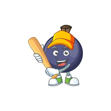 Playing baseball sweet blackcurrant in character mascot style Illusztráció