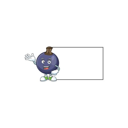 With board sweet blackcurrant in character mascot style Stok Fotoğraf - 129996888