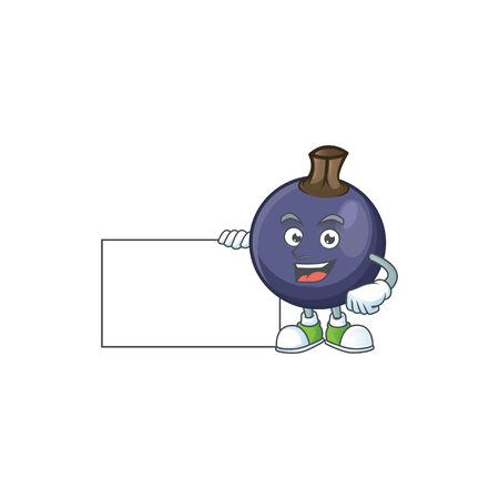 Thumbs up with board sweet blackcurrant in character mascot style Illusztráció