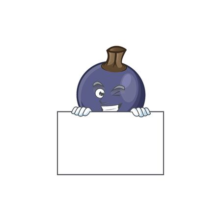 Grinning with board sweet blackcurrant in character mascot style Illusztráció