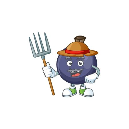 Farmer sweet blackcurrant in character mascot style