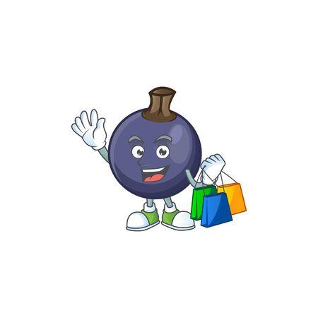 Shopping blackcurrant fruit of cartoon character shape.  イラスト・ベクター素材