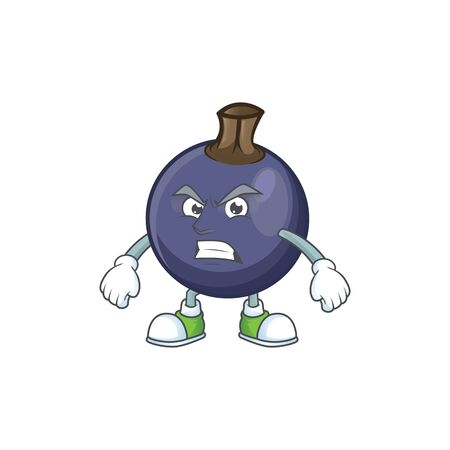 Angry blackcurrant fruit of cartoon character shape.