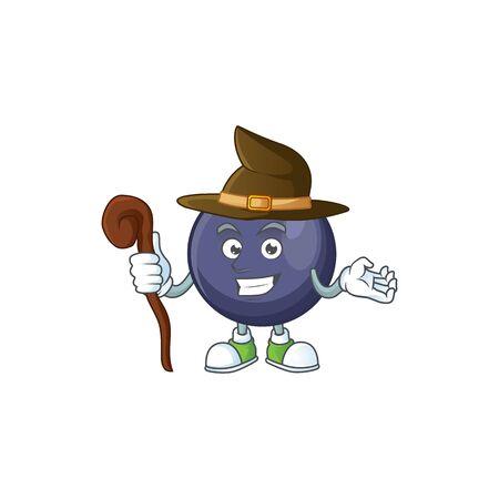 Witch fresh blackcurrant cartoon for healthy diet Ilustração