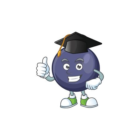 Graduation blackcurrant fruit of cartoon character shape. Illustration